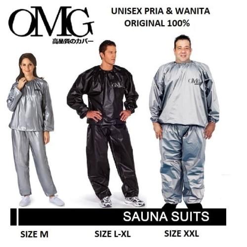 Foto Produk Baju Sauna Suit OMG Jaket Celana Olah Raga Pria Wanita Best Quality - Hitam, L-XL dari lbagstore