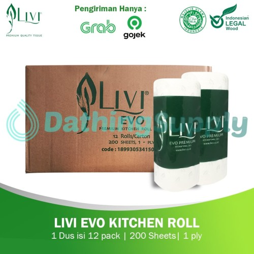Foto Produk (KHUSUS GOJEK/GRAB) Tissue LIVI EVO Kitchen Roll - 1 DUS 12 Roll dari Dathing Supply