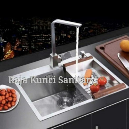 Foto Produk Paket Kitchen Sink OSAKA NARA 6046 by Bolzano+Kran Angsa+Tempat Sabun dari Raja Kunci Sanitary