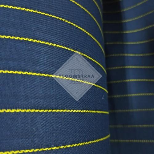 Foto Produk Bahan Kanvas Yarn Dyed Twill Stripe Navy Lis Kuning Kain Canvas Garis dari Bloomstraa
