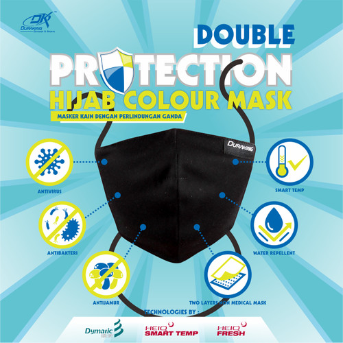 Foto Produk Masker Kain Anti Virus DK DOUBLE PROTECTION HIJAB MASK COLOUR - Hitam dari Duraking Outdoor&Sports