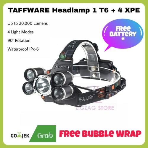 Foto Produk Senter Kepala / Headlamp 1 T6 4 XPE up to 10.000 Lumens - Paket Lengkap dari ZigZag-Store