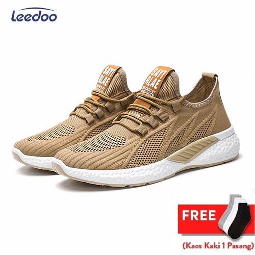Foto Produk Leedoo Sepatu Sneakers Pria Running Shoes Young Lifestyle Import MR115 - Coklat, 39 dari Leedoo