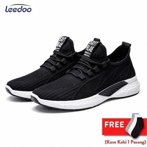 Foto Produk Leedoo Sepatu Sneakers Pria Running Shoes Young Lifestyle Import MR115 - Hitam, 39 dari Leedoo