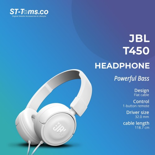 Foto Produk JBL On-Ear Headphone T450 - Putih dari ST-Toms.co