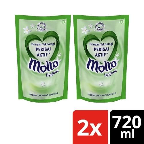 Foto Produk Molto Pelembut & Pewangi Pakaian Hygiene 720 Ml Twin Pack dari Unilever Official Store