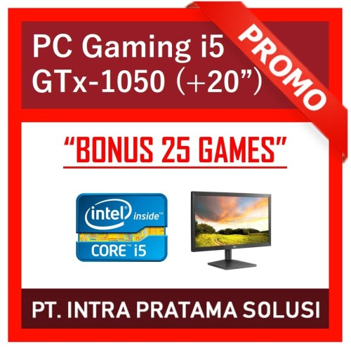 "Foto Produk PC Design / Gaming - i5-3470 + RAM 8GB + SSD + GTx 1050 2GB + LED 20"" dari PT. Intra Pratama Solusi"
