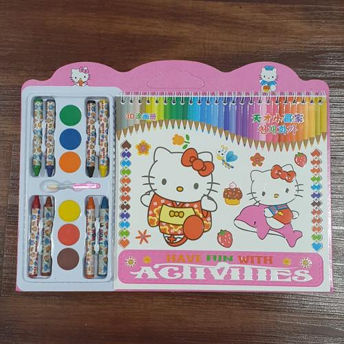 Foto Produk CMS012 Buku Menggambar Anak / Buku Gambar Crayon 8pcs Cat Set Buku Mew - HELLO KITTY dari Mmtoys Indonesia