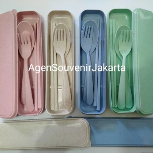 Foto Produk Souvenir sendok set travel jerami kemas box + kardus dari Agen Souvenir Jakarta