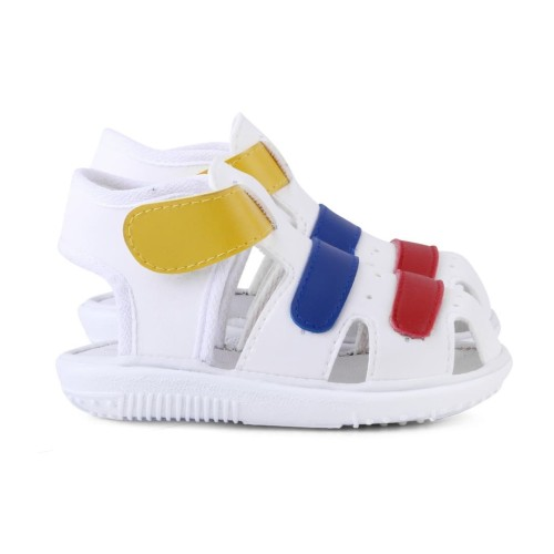 Foto Produk sandal anak cowok perekat umur 1 2 tahun bunyi putih - Putih, 24 dari Syalu Shoes