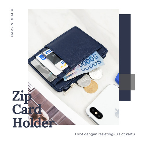 Foto Produk DOMPET KARTU ATM - CARD HOLDER SLETING PRIA WANITA 8 SLOT KARTU - Hitam dari Whitebeige.id