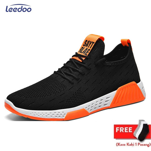 Foto Produk Leedoo Sepatu Sneakers Pria Import Running Shoes Young Lifestyle MR104 - HItam Oren, 40 dari Leedoo