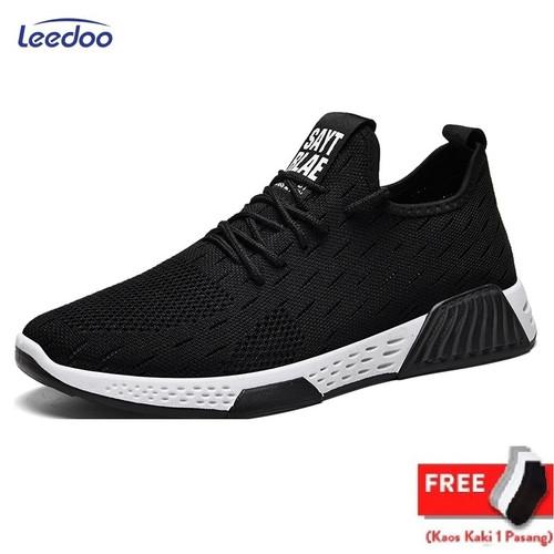 Foto Produk Leedoo Sepatu Sneakers Pria Import Running Shoes Young Lifestyle MR104 - Hitam Polos, 40 dari Leedoo