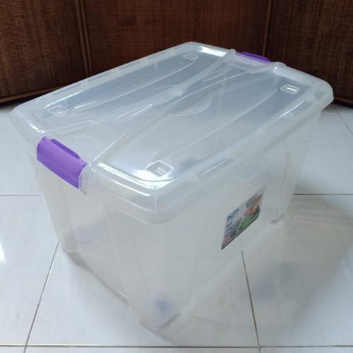 Foto Produk Box Container 50 Liter Transparan / Clear / Bening Dgn Roda - Ungu dari secretbasesby