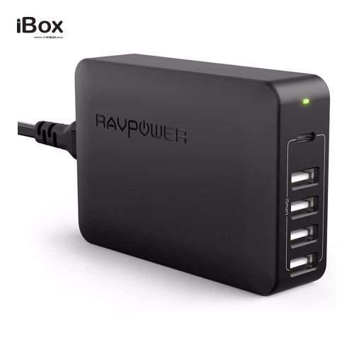 Foto Produk RAVPower 60W 5-Port USB Desktop Charge With USB-C PD (RP-PC059) dari iBox Official Store