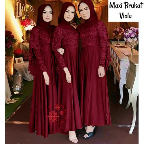 Foto Produk MAXI OLIVIA BRUKAT ABU / GREY BAJU GAMIS PESTA WANITA MUSLIM - Maroon dari moudis shop inc
