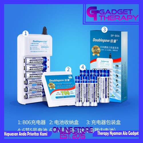 Foto Produk DOUBLEPOW Charger Casan Bonus 6 Baterai AA Rechargeable 1200mAh - 6 AA 1200mAh dari Gadget Therapy