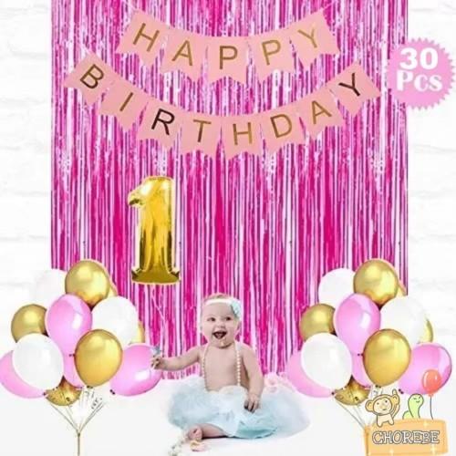 Foto Produk Paket Dekorasi Hiasan Balon Ulang Tahun / Happy Birthday Pink 03 dari Chorebe