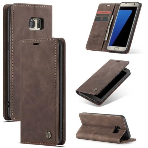 Foto Produk Samsung galaxy S7 edge Flip Case Caseme Cover Leather Wallet Dompet - Coklat Muda dari Vinvend ACC