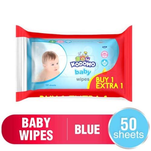 Foto Produk Kodomo Baby Wet Wipes 50 Sheets Classic Blue dari Orami
