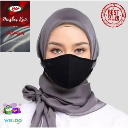 Foto Produk Masker Kain Hijab Rider Anti Bakteri 2 ply ( Hitam ) dari wieloo