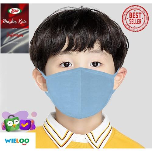 Foto Produk Masker Kain Anak-Anak Rider Anti Bakteri 2ply (Earloop Biru Muda) dari wieloo