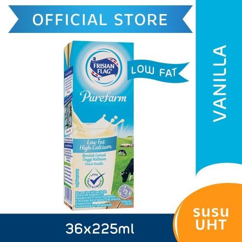 Foto Produk Frisian Flag Purefarm UHT Low Fat French Vanilla 225ml [36 pcs] dari Frisian Flag Official