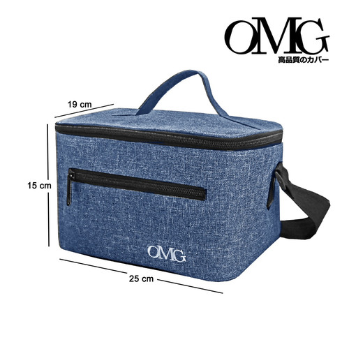 Foto Produk Tas bekal Slempang Tali Lunch Bag OMG penahan panas dingin cooler - Biru dari GrosirOtomotif