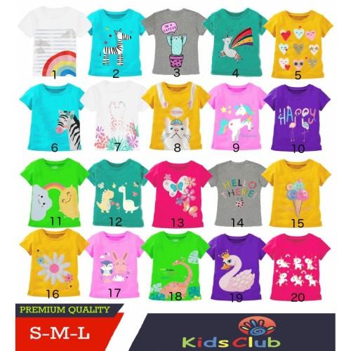 Foto Produk Kaos Anak Bayi Perempuan Motif dan Warna Lucu umur 1-3 thn Kids Club - S dari kidsclubapparel