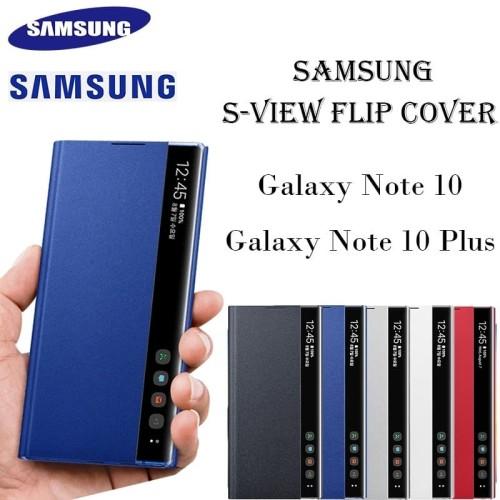 Foto Produk Flip Clear View Cover Case Samsung Galaxy Note 10 Plus Original 100% - Merah Muda dari Hoolo