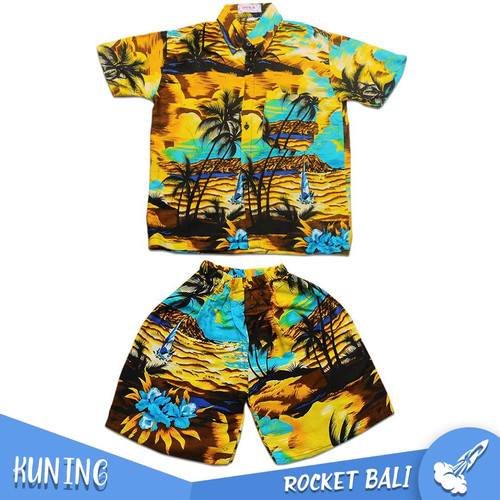 Foto Produk Baju Anak Khas Bali - Setelan Anak - Set Baju Pantai Anak Laki-laki - Kuning, M dari Rocket Bali