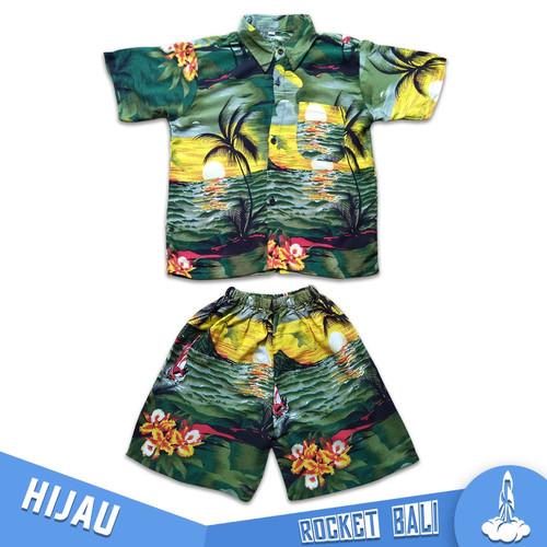 Foto Produk Kemeja Pantai Hawai Anak - Setelan Baju dan Celana Pantai Anak Murah - Hijau, M dari Rocket Bali