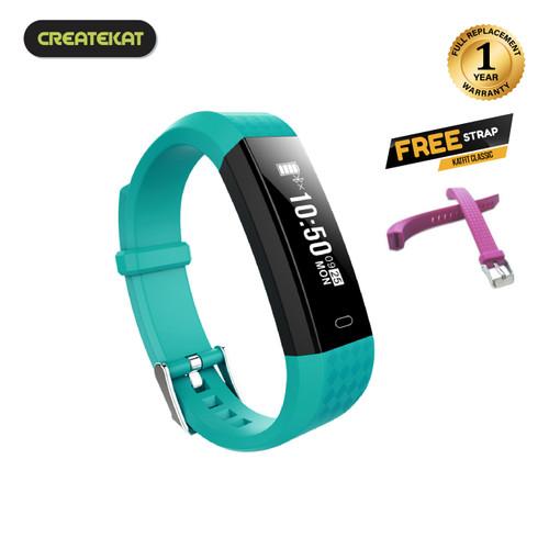 Foto Produk Createkat Smart Band Heart Rate Monitor Smartwatch Gelang Pintar - Hijau muda dari CreateKat