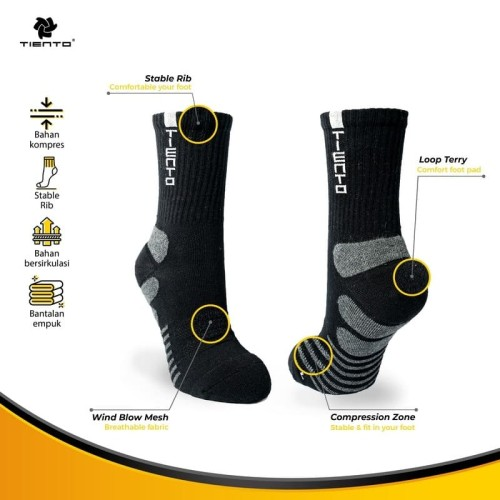 Foto Produk Tiento Compression Socks Typotype Black Crew Anti Bacterial Technology dari TIENTO