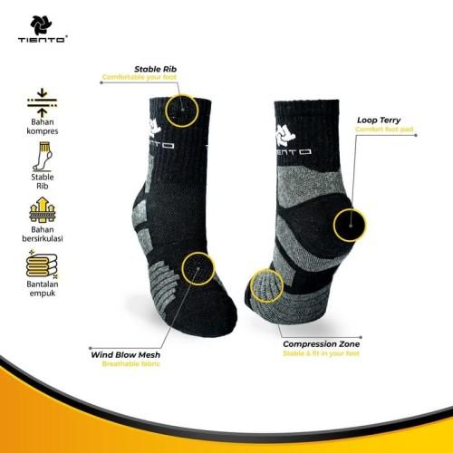 Foto Produk Tiento Compression Socks To Go Black Quarter Anti Bacterial Technology dari TIENTO