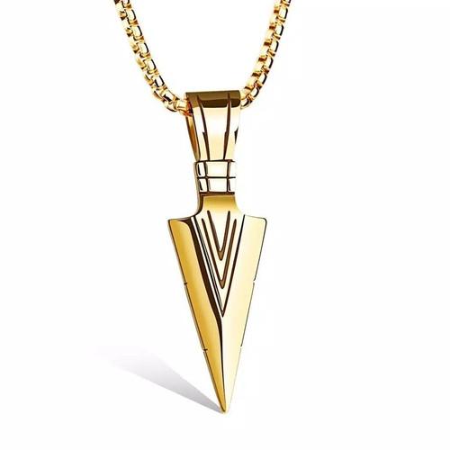 Foto Produk Kalung Segitiga Retro untuk Pria Good Triangle Sword Pendant Chain - Gold dari Sedaap Rasayangku