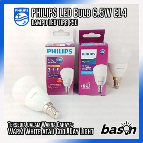 Foto Produk PHILIPS LED Bulb 6.5W E14 220V P50 - 600lumen - Putih dari bason