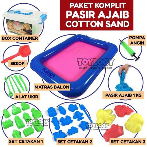 Foto Produk Mainan Anak Paket KOMPLIT Pasir Ajaib Kapas Cotton Sand 1 kg - Cetakan dari Toylogy