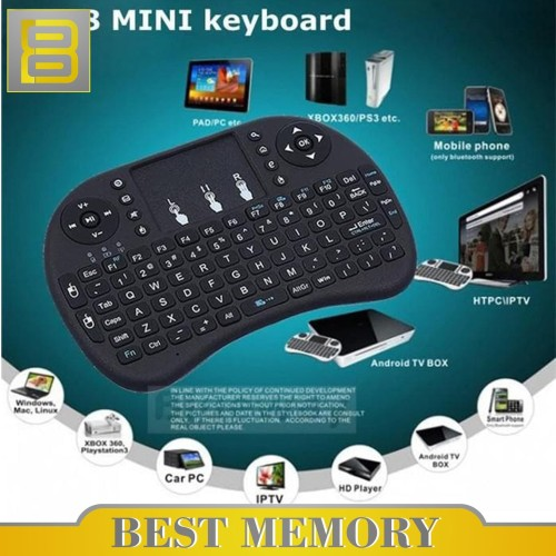 Foto Produk i8 Wireless Mini Keyboard with TouchPad & Air Mouse dari BEST MEMORY