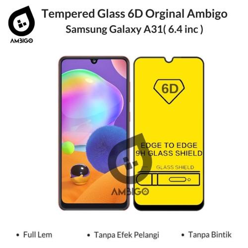 Foto Produk Tempered Glass 6D Samsung Galaxy A31 M21 Full Cover Color Ambigo - Hitam, SAMSUNG M21 dari Jagonya Case