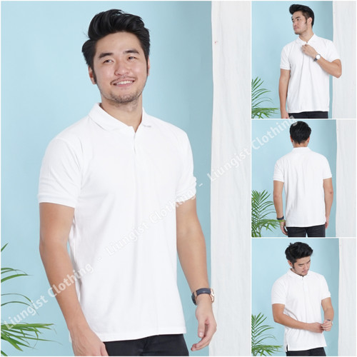 Foto Produk Kaos polo Putih Polos / kaos kerah / poloshirt - Putih, S dari Liungist Clothing