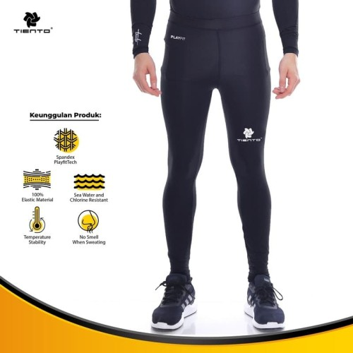 Foto Produk Baselayer Manset Tiento Long Pants Black White Original - Hitam, M dari TIENTO