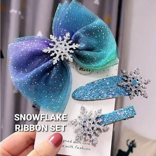 Foto Produk BAJUKIDDIE SNOWFLAKE RIBBON SET AKSESORIS JEPIT RAMBUT ANAK FROZEN dari bajukiddie