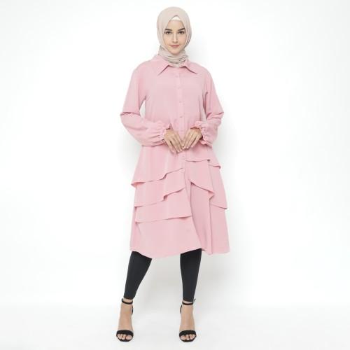 Foto Produk Heaven Sent - Tunik Atasan Wanita Muslim Terbaru Model Aneska Pink - S dari Heaven Sent Official