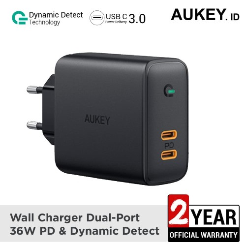 Foto Produk Aukey Charger Dual-Port 36W PD with Dynamic Detect - 500393 dari AUKEY