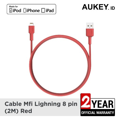 Foto Produk Aukey Cable MFi USB-A to Lightning 2m (RED) - 500356 dari AUKEY