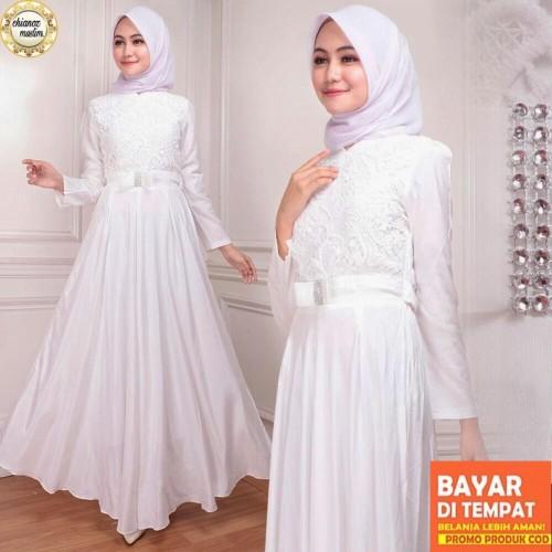 Foto Produk Baju Gamis Putih / Busana Muslim / Baju Muslim Wanita #130 STD - Putih Tulang, L dari chianoz