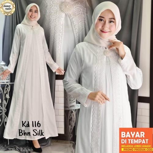 Foto Produk Baju Gamis Putih / Busana Muslim / Baju Muslim Wanita #116 STD - Putih, 3L dari chianoz