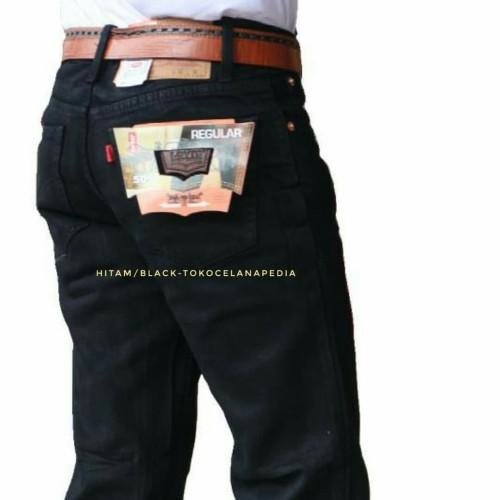 Foto Produk Promo Celana jeans standar Nomer besar 33 sd 37 / jeans pria jumbo - Hitam, 37 dari Tokocelanapedia