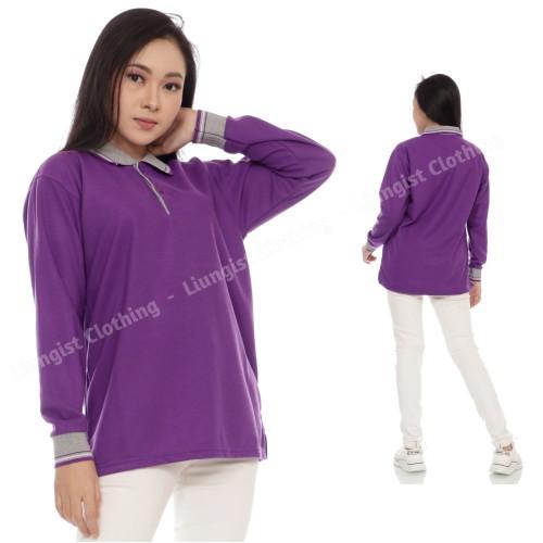 Foto Produk Kaos Polo Panjang Ungu Tua kerah Abu / Kaos Kerah Panjang - Ungu Tua Kr Abu, S dari Liungist Clothing
